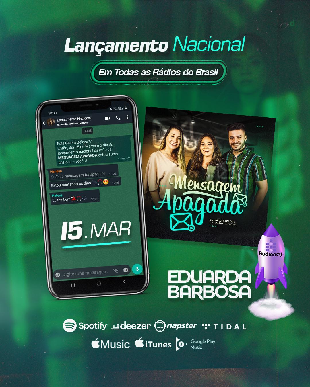 """""""Mensagem apagada"""" lançamento de Eduarda Barbosa nas rádios - audiency - o rádio faz a diferença"""